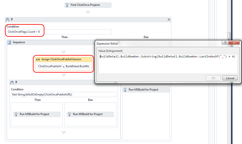 Next the default MSBuild activity that compiles your solution was replaced by an If Statement Control Flow.