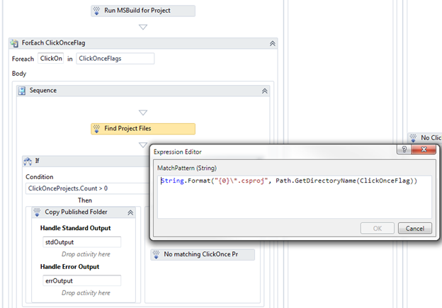 We grab the ClickOnce project name by executing a FindMatchingFiles activity.