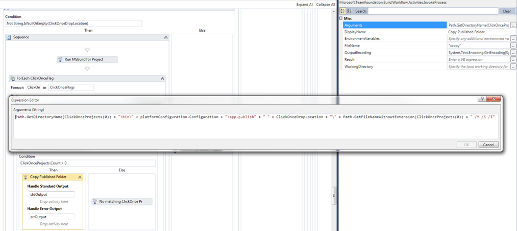 We use an InvokeProcess activity to xcopy our ClickOnce publish directories out to our ClickOnce Drop Location.