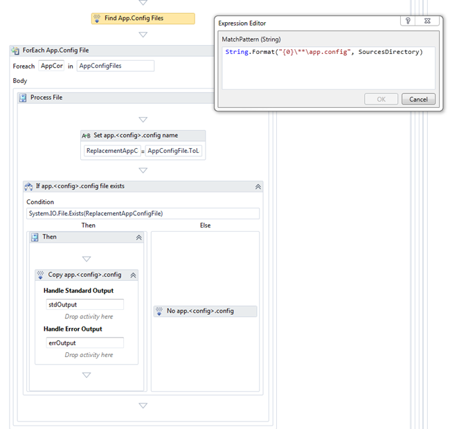 First we create a list of the app.config files in the solution.