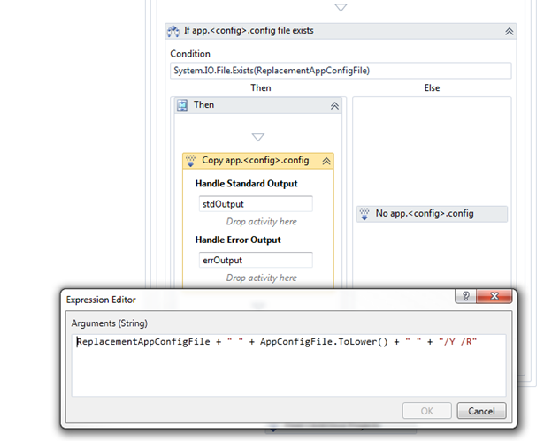 """We have to use the """"/R"""" in our xcopy arguments because the source app.config file is marked as read-only."""