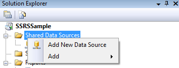 Right-click on the Shared Data Sources folder and select Add New Data Source.