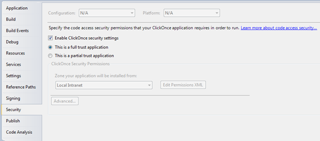 Open your ClickOnce project's properties window.