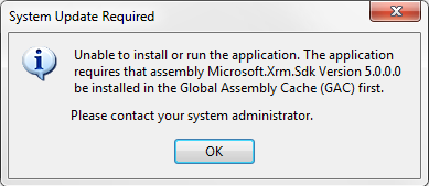An example failure on attempted install.