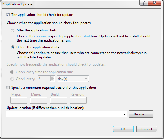 If you want to enable automatic updating for your ClickOnce application every time it is launched, you need to turn this option on in the Application Updates box.