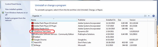 The user can also uninstall the ClickOnce application from the Programs and Features Control Panel.