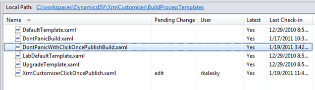 Download the DontPanicWithClickOncePublishBuild.xaml file and copy it into your solution's BuildProcessTemplates directory and add it to source control.