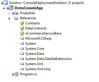 "If building the ""master"" solution before the console solution is not possible in your environment, you will need to add the referenced projects to your console solution."