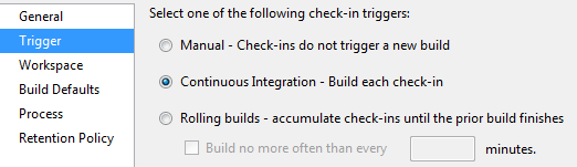 Set the build to trigger on check-in.
