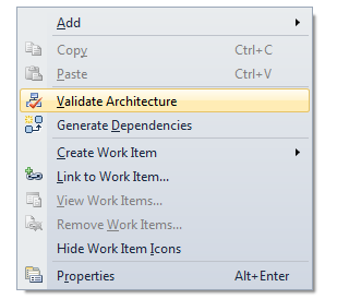 Right-clicking the Layer Diagram surface and selecting the Validate Architecture option or by enabling validation on build.