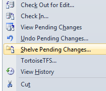 You can shelve pending changes (like a local check in) by right-clicking a file/project/folder/etc. and selecting Shelve Pending Changes.
