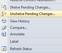 If you want to get your shelveset back or get other people's shelved changes. Go to File -> Source Control -> Unshelve Pending Changes….