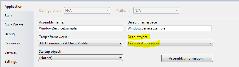 In Visual Studio 2010 you can easily change that behavior so you provide a command line argument when running the .exe, it will run the service like a console application.