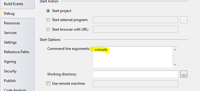 """Click the Debug tab and enter """"console"""" in the Command line arguments box."""