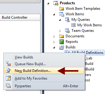 Your first step is to create a new Build Definition.