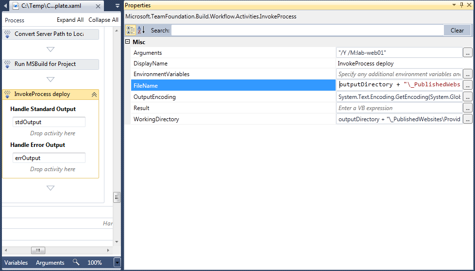 The FileName should point to the generated deploy script in your project's directory.
