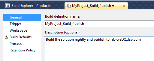 Pick a name for your new Build definition name.