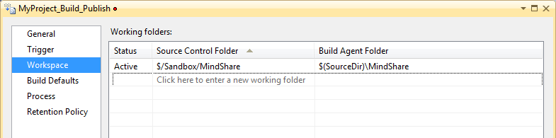 Select the workspace to build.