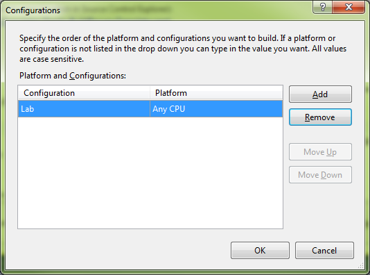 """Use whatever configuration you need (we're using """"Lab"""" for this example) and click OK."""