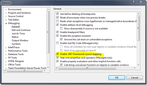 Select the Enable .NET Framework source stepping checkbox.