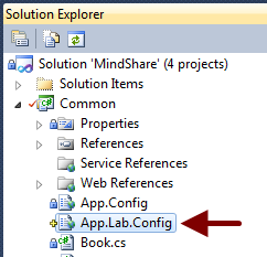 "Create a new configuration file in the project called ""App.Lab.Config""."