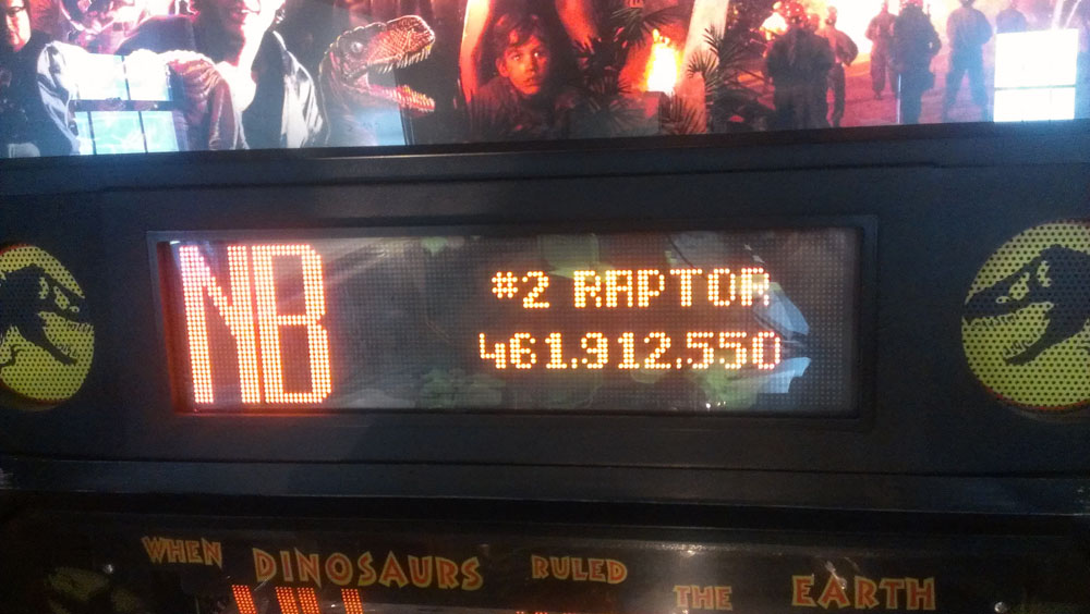 As of this writing, Neema has the company high score of 461,912,550. Unfortunately his score on the machine is still #2 because the #1 place is reserved for the machine's default score of 500,000,000.