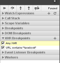 You can add breakpoints on XHR (XmlHttpRequest, think AJAX) with filters.