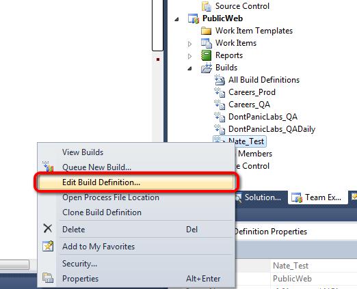 Edit Build Definition