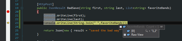 The BadSave takes in one parameter for each element posted.