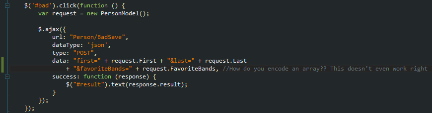The BadSave post with the form-encoded string in the data field.
