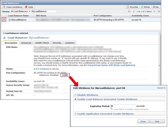 The stickiness of the ELB is specified per port using the AWS Management Console.