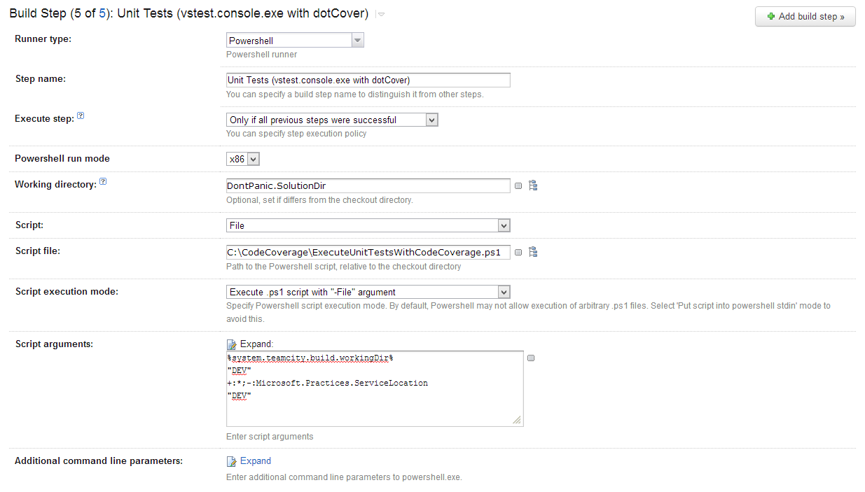 We can set up our new PowerShell step to run our unit tests.