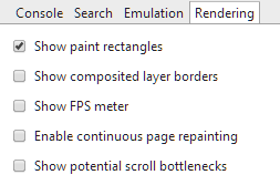 Chrome's Rendering options