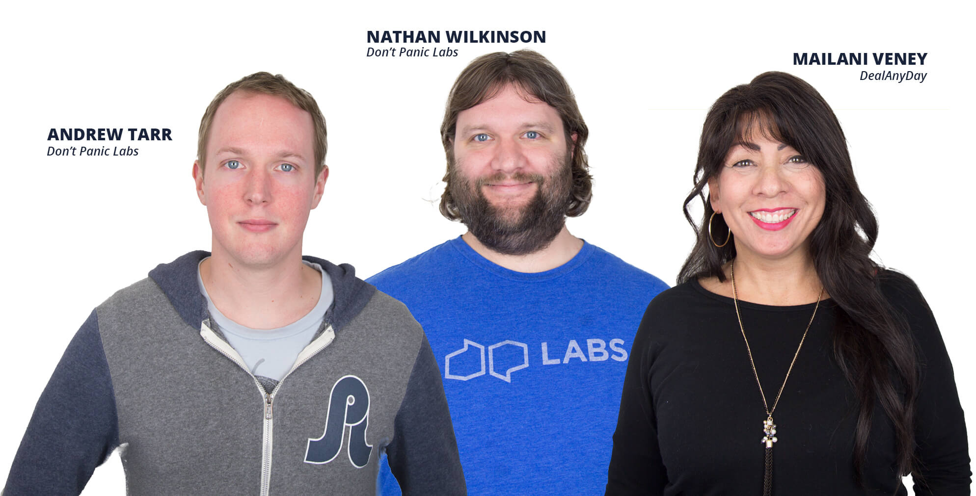 Andrew Tarr and Nathan Wilkinson of Don't Panic Labs, and Mailani Veney of DealAnyDay
