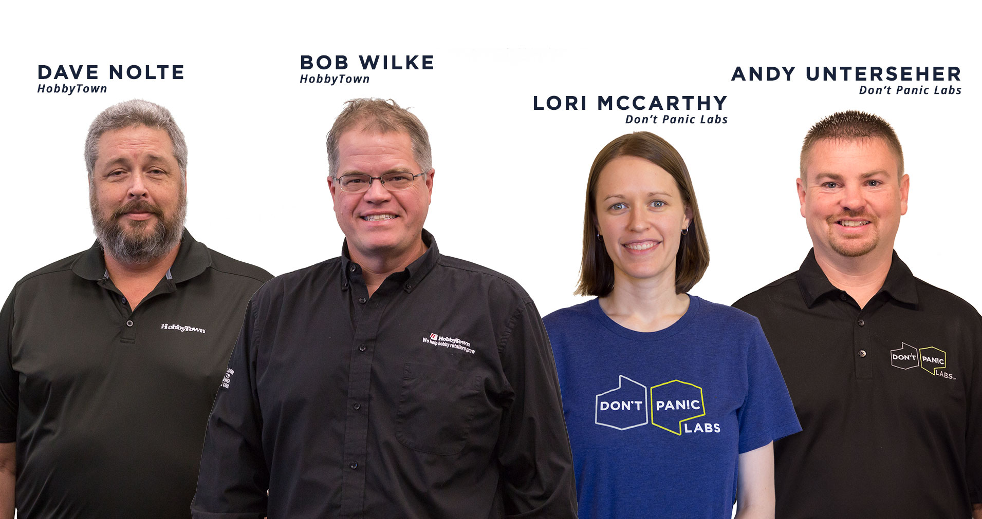 Dave Nolte and Bob Wilke of HobbyTown & Lori McCarthy and Andy Unterseher of Don't Panic Labs