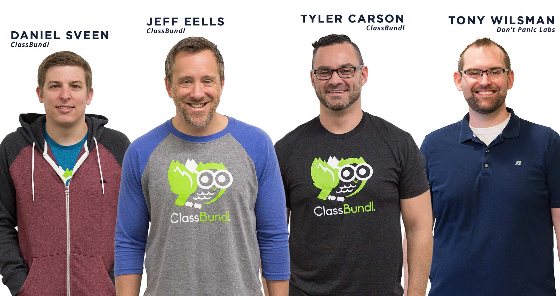 Daniel Sveen, Jeff Eels, and Tyler Carson of ClassBundl, and Tony Wilsman of Don't Panic Labs