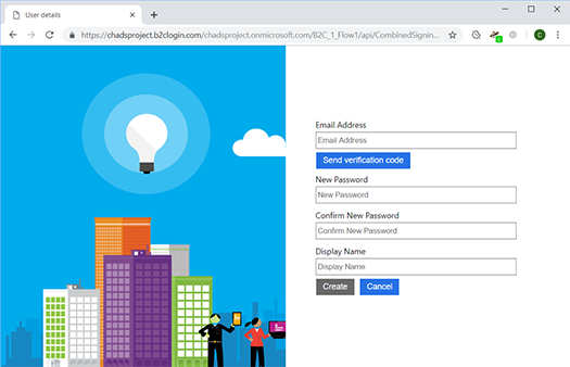 Azure B2C test sign in page