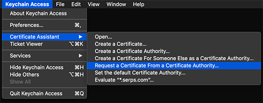 iOS Push Notifications - Keychain Access app in MacOS