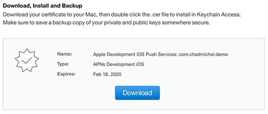 iOS Push Notifications - Download certificate