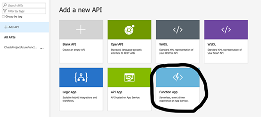 API Management is linked to a Function application