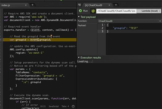 Example of Lambda debugging in Cloud9