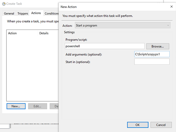 New Action dialog