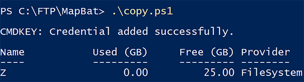 Test results in a PowerShell window