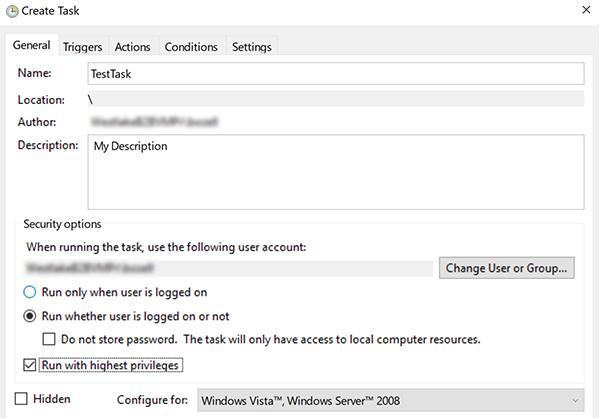 Create Task dialog box