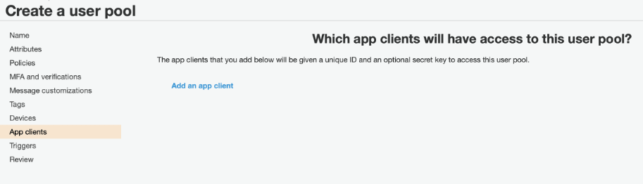 App user pool
