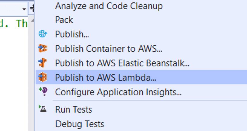 publish to AWS Lambda